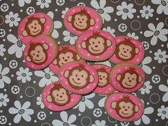 Pink mod monkey cookies