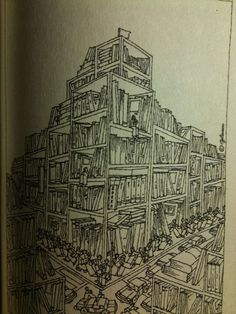 NYC buildings as bookshelves by Glauco della Sciucca