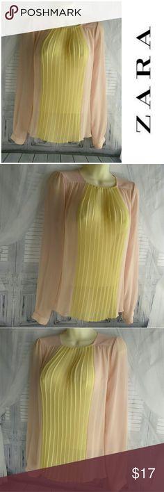 Zara Woman Color Block Pleated Sheer Blouse Long sleeve 100% Polyester Zara Tops Blouses