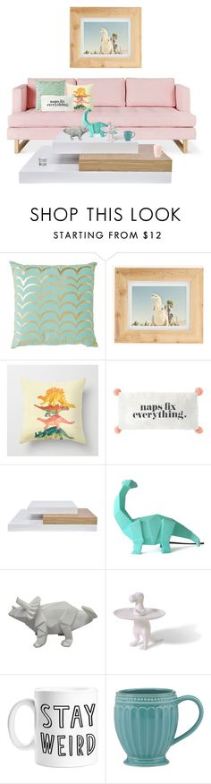 """dino love."" by tothineownselfbtrue ❤ liked on Polyvore featuring interior, interiors, interior design, home, home decor, interior decorating, Urban Outfitters, Disaster Designs, Imm Living and Lenox"