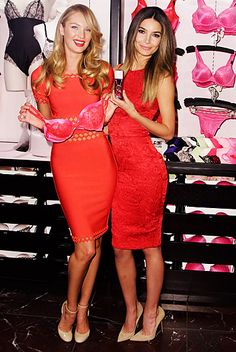 Candice Swanepoel and Lily Aldridge revealed their favorite Valentine's Day gift picks at Victoria's Secret Herald Square Store in New York City Feb. 6.