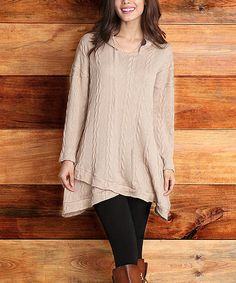 Love this Mocha Cable-Knit Hooded Tulip-Hem Tunic on #zulily! #zulilyfinds