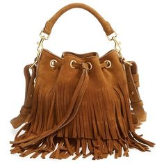 Saint Laurent 'Emmanuelle' Suede Fringe Bucket Bag (24.579.450 IDR) ❤ liked on Polyvore featuring bags, handbags, shoulder bags, bolsas, light ocre, brown fringe handbag, brown bucket bag, brown fringe purse, brown suede purse and brown suede handbag