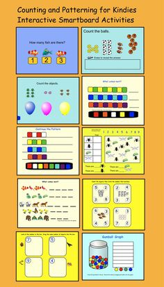Interactive Smartboard Lesson/ 10 pages of Counting and Patterning Activities for Kindies.