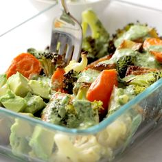 Crispy tender roasted veggies, buttery avocado, all tog. Crispy tender roasted veggies, buttery avocado, all together in a bowl with a drizzle of green tahini sauce. Perfect for meal prep! Veggie Dishes, Veggie Recipes, Whole Food Recipes, Cooking Recipes, Vegetable Snacks, Veggie Bowl Recipe, Easy Recipes, Whole Foods, Vegetarian Recipes Videos