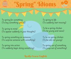 """""""Spring"""" Idioms just in time for spring! Visit Really Learn English for more examples of English idioms."""