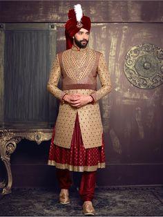 Beige Maroon Silk Layered Anarkali Sherwani