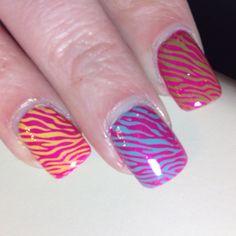 zebra print » multi-colored nail design