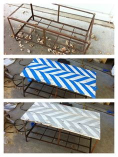 coffee table made from an old rusty garbage can holder and old chippy fence pickets. painted a herringbone pattern