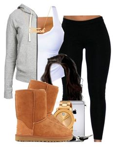 Cute outfits for teens. Ugg boots, black Ugg boots match with a cute cross patterned scarf. I personally love how to boots and bracelets go so well together with the scarf (: Cute Swag Outfits, Cute Outfits For School, Chill Outfits, Dope Outfits, Casual Outfits, Winter Swag Outfits, Cute Lazy Day Outfits, Lazy Day Clothes, Polyvore Outfits Casual