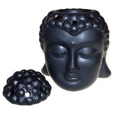 Buddha Head Oil Burner Black ZEN Spiritual CERAMIC pottery Home Decor ornament £10.99 + free uk post