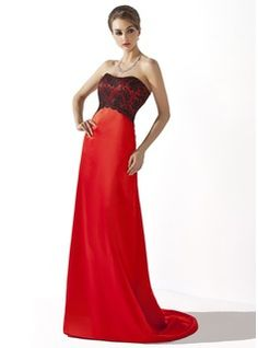 A-Line/Princess Sweetheart Sweep Train Satin Bridesmaid Dresses With Lace (007004299)