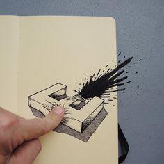B - typographic illustration by Swiss artist Cyril Vouilloz (aka Rylsee)