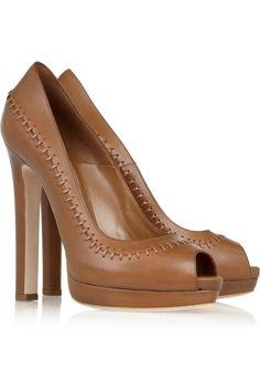 Alexander McQueen|Stitched leather peep-toe pumps|NET-A-PORTER.COM