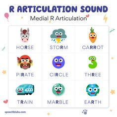 Articulation is a challenge for every child learning to speak. 👶 If your child is having difficulty with the R sound articulation, read here! Articulation Therapy, Articulation Activities, Speech Therapy Activities, Alphabet Activities, Speech Language Pathology, Speech And Language, Learning Through Play, Kids Learning, Phonics Flashcards