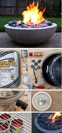 Make a DIY Modern Concrete Fire Pit from Concrete mix + Gel fireplace fuel canisters + bowl + bowl Summer evening call for a friendly sit-down around a fire in the backyard. Make your own modern concrete fire pit, and enjoy!