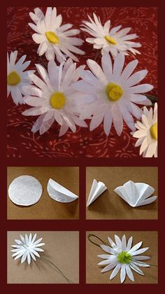 giant paper flowers Make a beautiful bouquet of flowers, inspired by Daisy Duck. Paper Sunflowers, Paper Flowers Craft, Large Paper Flowers, Felt Flowers, Flower Crafts, Diy Flowers, Fabric Flowers, Paper Crafts, Paper Daisy