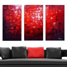 'Red Textured Oil Painting' 4-piece Hand Painted Canvas Art