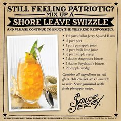 The Original Sailor Jerry Spiced Rum Shore Leave Swizzle Frozen Drink Recipes, Rum Recipes, Shot Recipes, Drinks Alcohol Recipes, Non Alcoholic Drinks, Yummy Drinks, Cooking Recipes, Beverages, Brewing Recipes