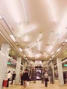 A Look Inside Stockholm's Subway Art - A Tour - Pictures & Words Subway Art, Stockholm, Art Photography, Tours, Ceiling Lights, Retro, Beautiful, Retro Pictures, Fotografia