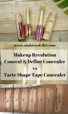 Makeup Revolution Conceal & Define Concealer vs Tarte Shape Tape Concealer, swatches, reviews and comparisons. #cosmetics #tartecosmetics #makeuprevolution #shapetape #tarteshapetape #shapetapeconcealer #Conceal&Define #makeupdupe #drugstoreamekup #makeup