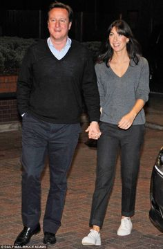 Keeping it casual: David and Samantha Cameron arrive at the Hyatt Hotel prior to the start of the conference. This makes me want to own an entire wardrobe full of sweaters - an hommage to Sam Cam style and my love of Fred Rogers .