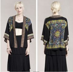 Women's Summer Boho Tribal Print long sleeve cardigan Tropical geometry Black Bohemia kimono cardigan jacket outwear(China (Mainland))