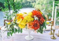 Bright floral centerpiece | photo by aster & olive photography | 100 Layer Cake
