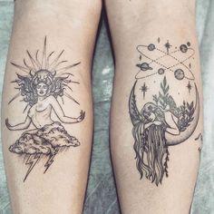 Sun & Moon Tattoo - Sun & Moon Tattoo 鈥� You are in the right place about Sonne & Mond Tattoo Tattoo - Mini Tattoos, Tattoos Bein, Leg Tattoos, Body Art Tattoos, Small Tattoos, Sleeve Tattoos, Virgo Tattoos, Tatoos, Garter Tattoos