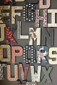 jbs inspiration: Back to School with Briana Johnson post paper mache letters covered with scrapbook paper Crafty Craft, Crafty Projects, Diy Projects To Try, Crafting, Wood Crafts, Fun Crafts, Diy And Crafts, Paper Crafts, Paper Mache Letters
