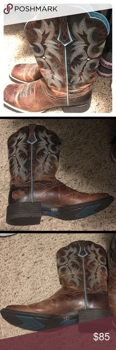 Artist women's boot Used as extra pair for riding. Too big for me, which unfortunately caused scuffing. Still like new besides a scratch and a scuff. Bottoms still look like never worn. Inside of shoes are immaculate. Only worn once. Got caught on barbed fence which caused the scratch in the picture. Ariat Shoes