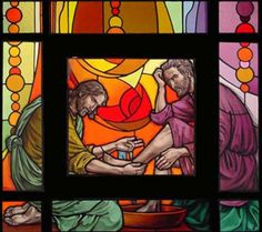 Maundy Thursday - we have washing of feet in church - whose feet should I choose ? Maundy Thursday, Church Windows, Banner Ideas, Stained Glass Designs, Ministry Ideas, Jesus Is Lord, Jesus Cristo, Sabbath, Christian Art