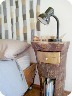 Tree trunk night table, so beautifully quirky, you can imagine fairies living in the bottom