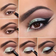 Brown and mint eyeshadow double winged eyeliner New Year's Makeup, Cute Makeup, Makeup Tips, Makeup Ideas, Beauty Makeup, Prom Makeup Tutorial, Eyeliner Tutorial, Makeup Tutorials, Pastel Eyeshadow