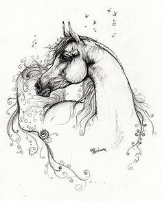 Arabian Horse Pen Drawing by Angel Tarantella
