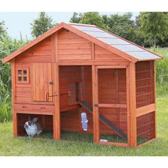 Pawhut Deluxe Large Wooden Bunny Rabbit Hutch / Chicken Coop w/ Large Out. If you are looking to keep rabbits, guinea pigs, chickens or other small animals in your backyard but don't know where to look to find a high quality habit Rabbit Hutch Plans, Large Rabbit Hutch, Outdoor Rabbit Hutch, Rabbit Hutches, Indoor Rabbit, Bunny Cages, Rabbit Cages, Bunny Hutch, Small Animal Cage