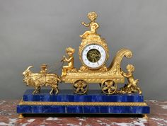 A Rare and Great Quality Late 19th Century Gilt Bronze and Lapis Lazuli Mantle Clock