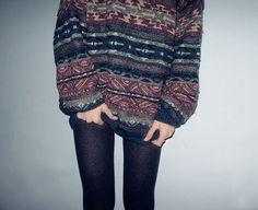 fairisle oversized sweater over tights