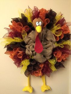 The Chic Technique: Sil's turkey mesh & burlap wreath Fall Mesh Wreaths, Deco Mesh Wreaths, Holiday Wreaths, Ribbon Wreaths, Burlap Wreaths, Wreath Fall, Deco Mesh Crafts, Halloween Mesh Wreaths, Fall Deco Mesh