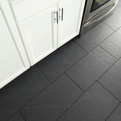 Black Bathroom Floor Tiles, Entryway Tile Floor, Slate Floor Kitchen, Slate Bathroom, Best Flooring For Kitchen, Tile For Small Bathroom, Bathroom Things, Kitchen Tiles, Master Bathroom