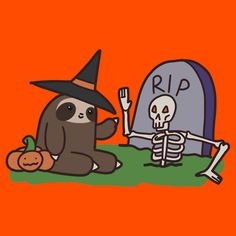 Sloth and Spooky Skeleton