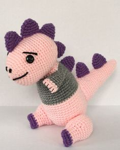 Crocheted Stuffed Animal Dinosaur Amigurumi by mythreeblindmice