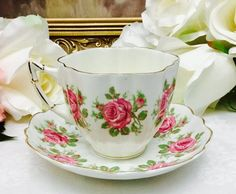 Etsy :: Your place to buy and sell all things handmade Tea Cup Set, Tea Cup Saucer, Victorian Tea Sets, China Patterns, High Tea, Afternoon Tea, Bone China, Hot Chocolate, Tea Time