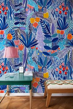 Removable Wallpaper Peel and Stick Wallpaper Wall Paper Wall Mural - Colorful Floral Wallpaper - Colorfull Wallpaper, Bright Wallpaper, Black And White Wallpaper, Wallpaper Wall, Peel And Stick Wallpaper, Wallpaper Designs, Smooth Walls, Traditional Wallpaper, Textured Walls