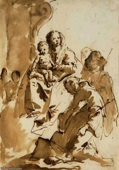 Giovanni Battista Tiepolo - The Madonna and Child with Saint Anthony of Padua kneeling and two other saints. Figure Sketching, Figure Drawing, Painting & Drawing, Rembrandt, Drawing Sketches, Art Drawings, Artist Sketchbook, Art For Art Sake, Sacred Art