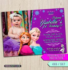Summer frozen - Printable Frozen invitavion - Princess Birthday Invitation with Photo - Frozen Disney Party Invites Ideas  4x6 or 5x7 0032 on Etsy, $7.99