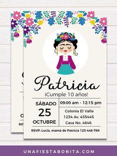 Invitación Frida Kahlo - Tarjetas de cumpleaños para imprimir #unafiestabonita #invitacionfrida #fridakahlo #imprimiblefridakahlo #ideasfiestasniñas #fiestamexicana Rapunzel Birthday Party, 90th Birthday Parties, Baby Birthday, Mexican Birthday, Mexican Party, Fiesta Party, Taco Party, Frida Kahlo Birthday, Woodland Party