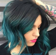 "Black Teal ... @hairbyshawna_russell ""transformed my previous pink client to…"