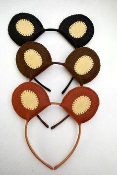 Oso orejas diadema de fieltro de lana