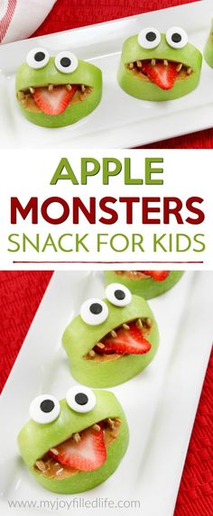 Make snack time fun with these silly apple monsters - easy to make and healthy too. Your kids will love this apple snack.